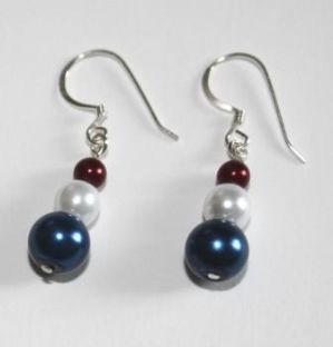 Sterling Silver Blue,White & Red Drop Earrings